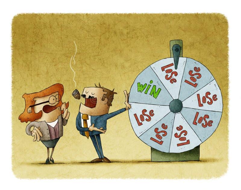 Homem de negócios e mulher de negócio com uma roleta da fortuna Conceito do risco ilustração stock