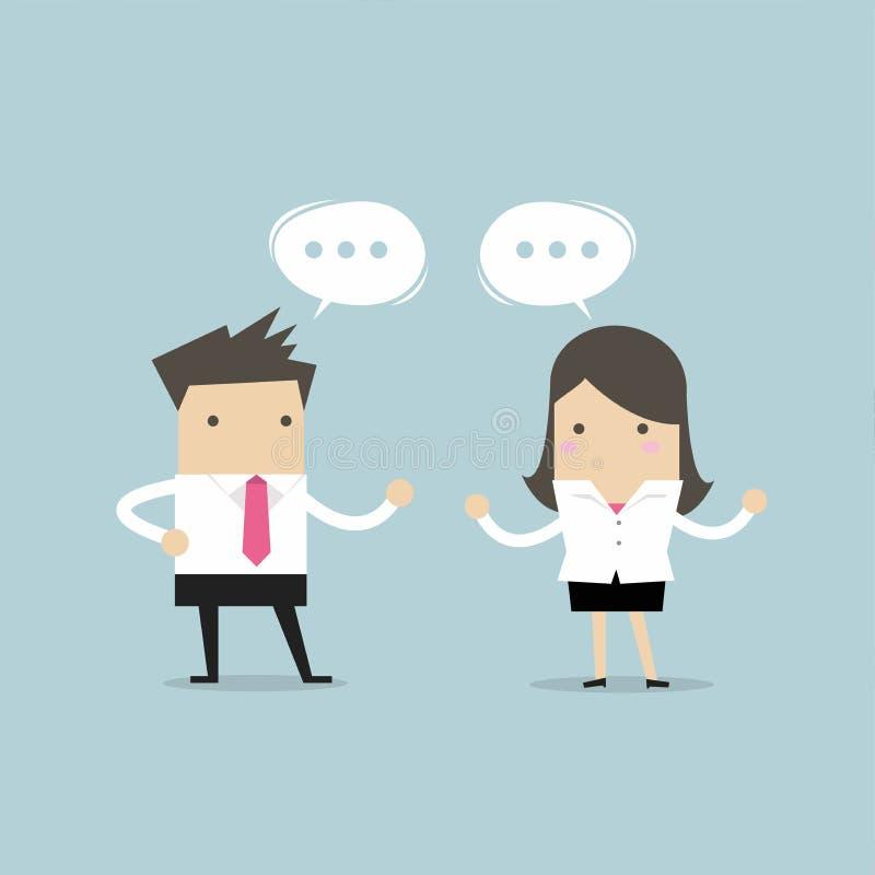 Homem de negócios e mulher de negócios que discutem sobre a estratégia empresarial no escritório trabalho junto e trabalhos de eq ilustração do vetor