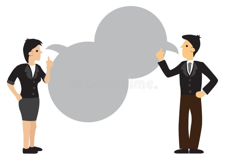 Homem de negócios e mulher que têm uma comunicação com a bolha vazia do discurso ilustração royalty free