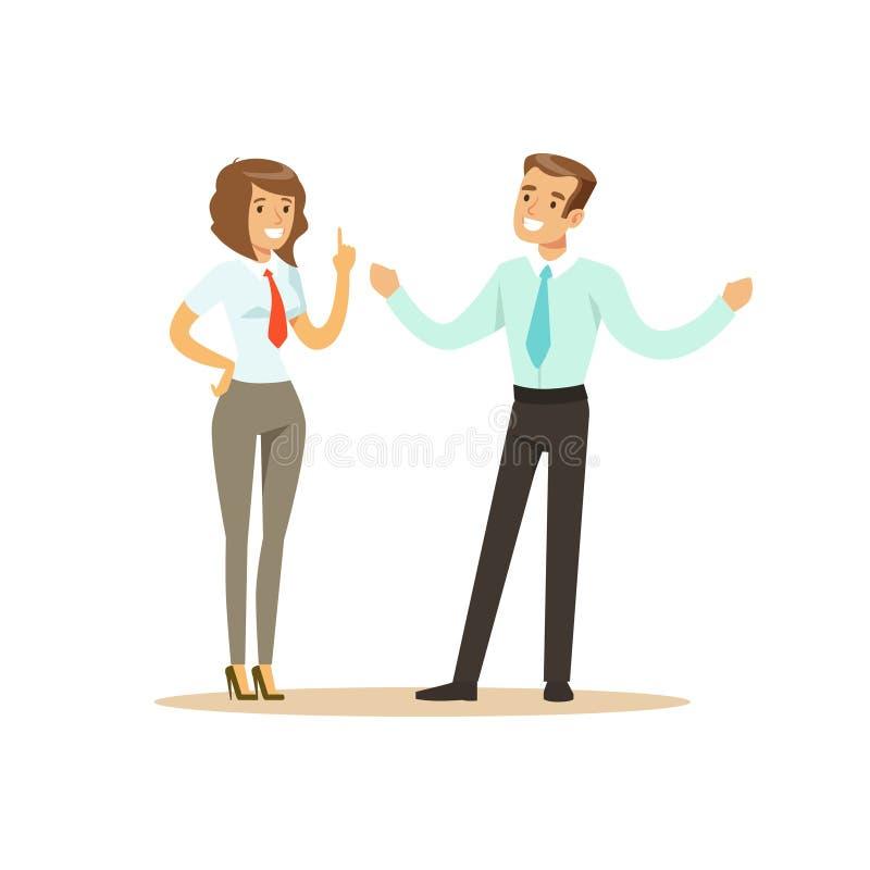 Homem de negócios e mulher de negócios de sorriso que têm a reunião na ilustração do vetor do escritório ilustração royalty free