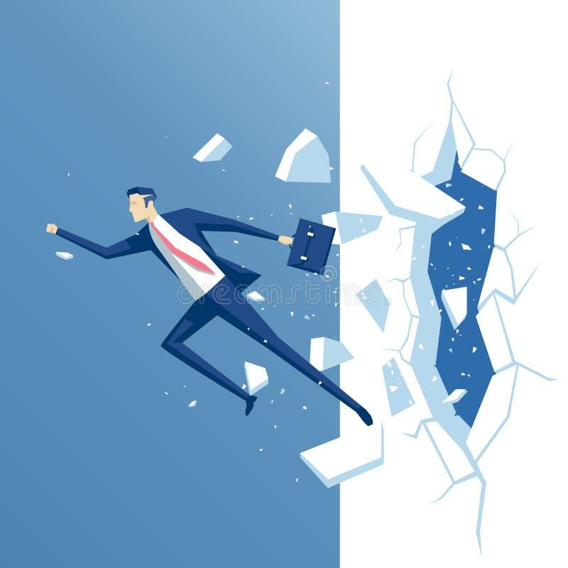 Homem de negócios e parede ilustração stock