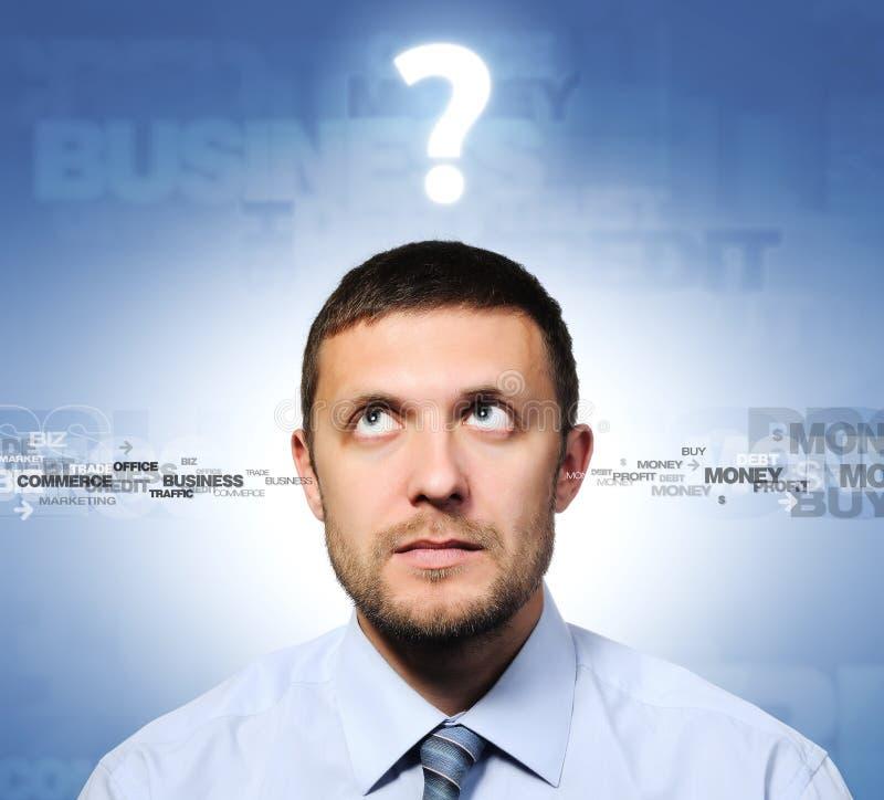 Homem de negócios e pergunta, conceito fotografia de stock