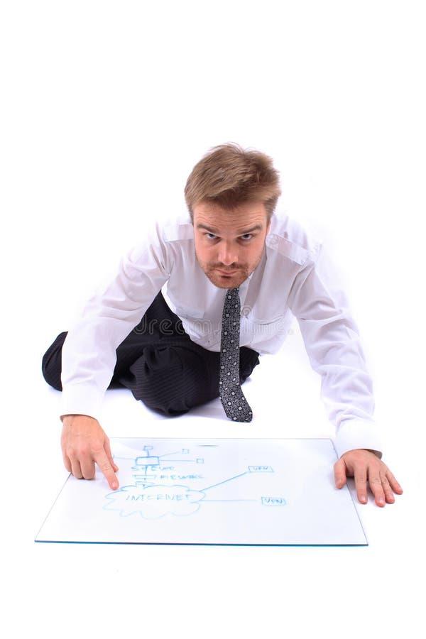 Homem de negócios e planta fotografia de stock