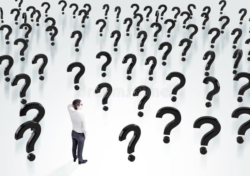 Homem de negócios e ponto de interrogação ilustração do vetor