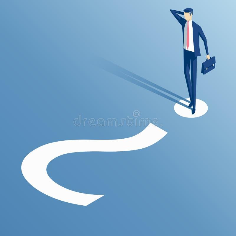 Homem de negócios e ponto de interrogação isométricos ilustração do vetor