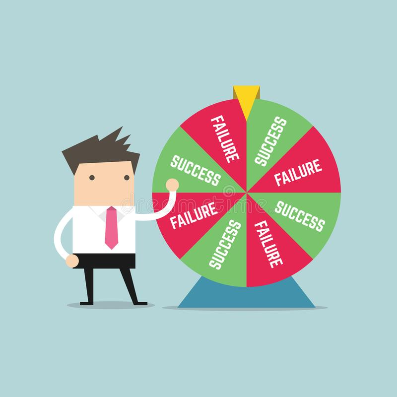 Homem de negócios e resultado da roda da fortuna ilustração stock