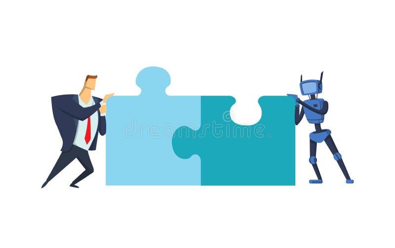 Homem de negócios e robô azul que tentam unir o enigma Uma comunicação da inteligência artificial Negócio e AI Conceito ilustração stock