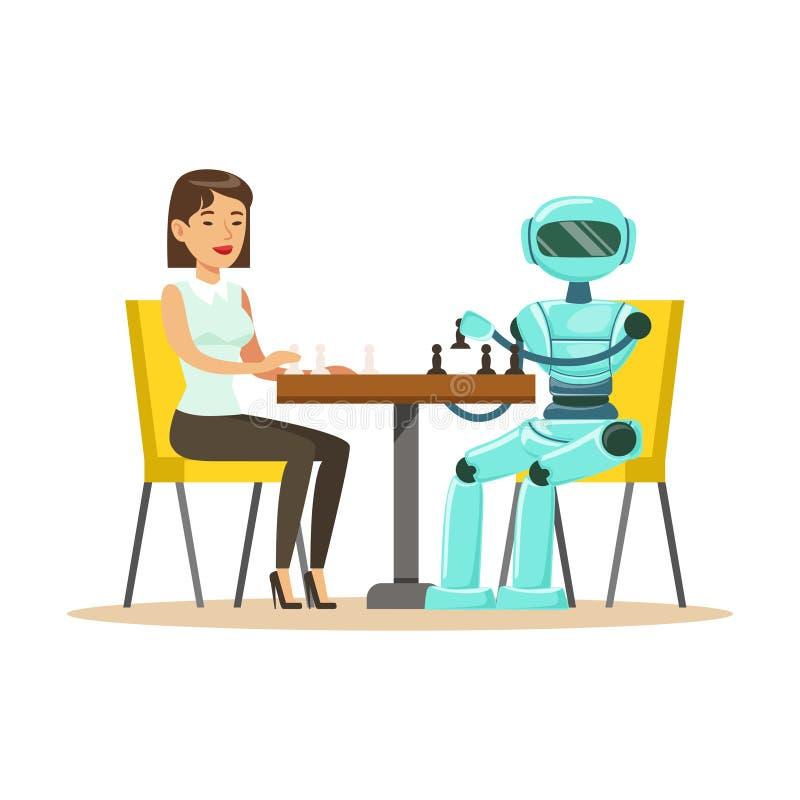 Homem de negócios e robô que jogam a ilustração do vetor da xadrez ilustração stock