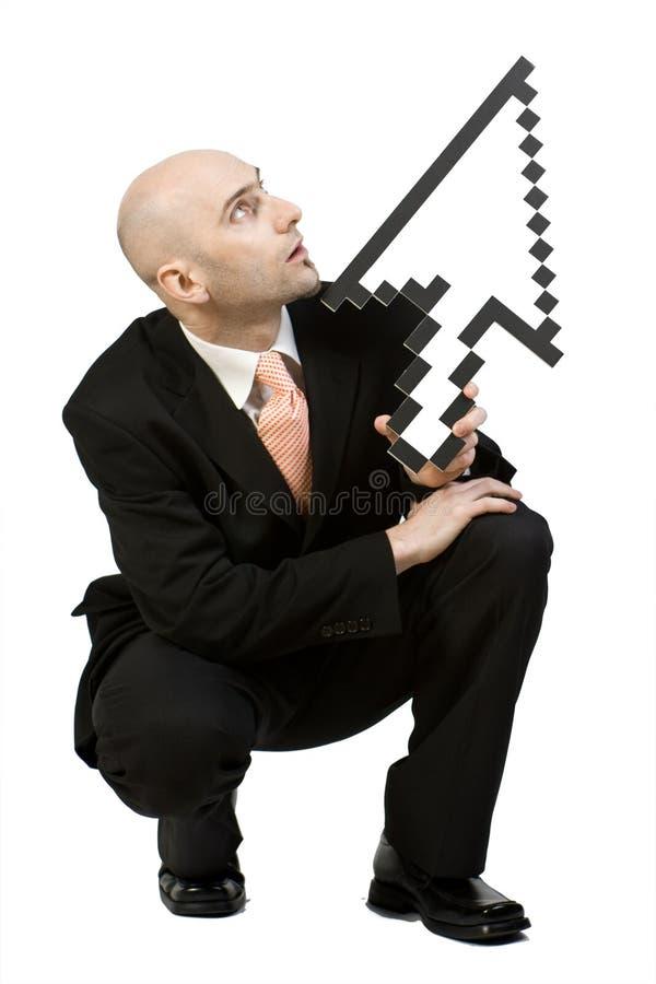 Homem de negócios e seta   imagens de stock royalty free