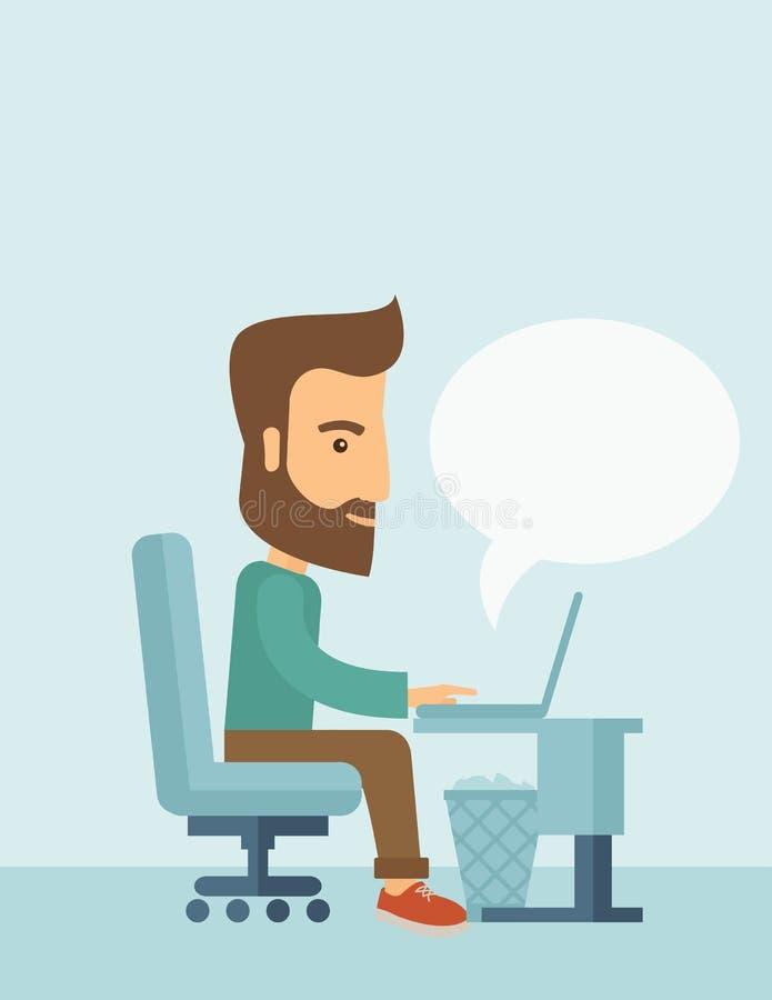 Homem de negócios e seu portátil ilustração do vetor
