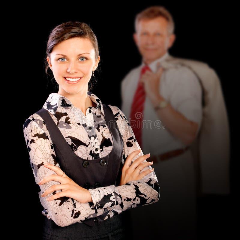 Homem de negócios e sua secretária imagens de stock royalty free