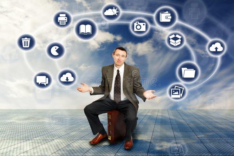 Homem de negócios e tecnologia sem fios imagem de stock