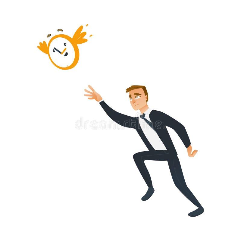 Homem de negócios e tema do tempo com o trabalhador atrasado do negócio que tenta travar e parar o pulso de disparo de parede que ilustração stock