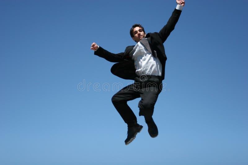 Homem de negócios ectático fotografia de stock royalty free