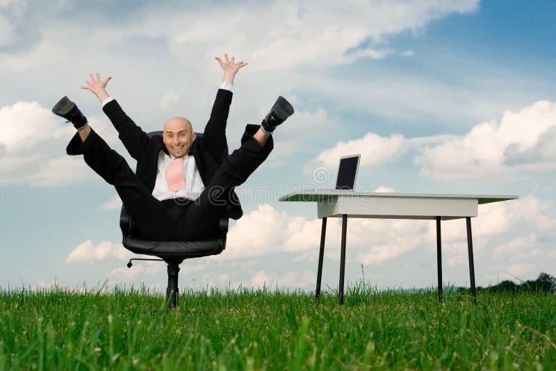 Homem de negócios ectático foto de stock royalty free