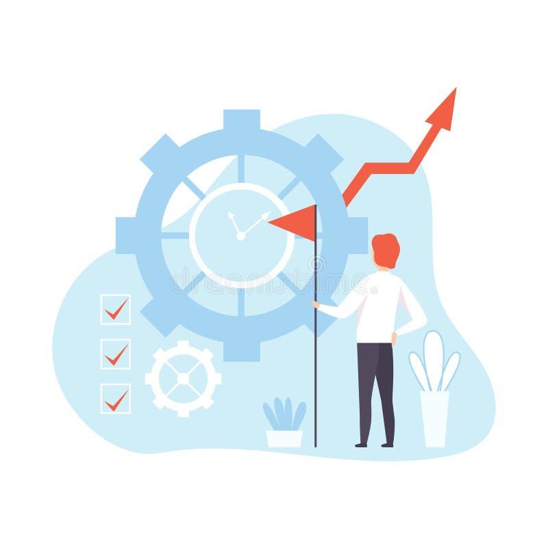 Homem de negócios Effectively Using Time para executar o plano, planeamento do trabalhador de escritório, organizando, tempo de f ilustração do vetor
