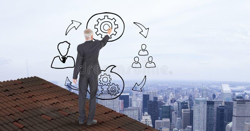 Homem de negócios em gráficos do desenho do telhado no meio do ar ilustração do vetor