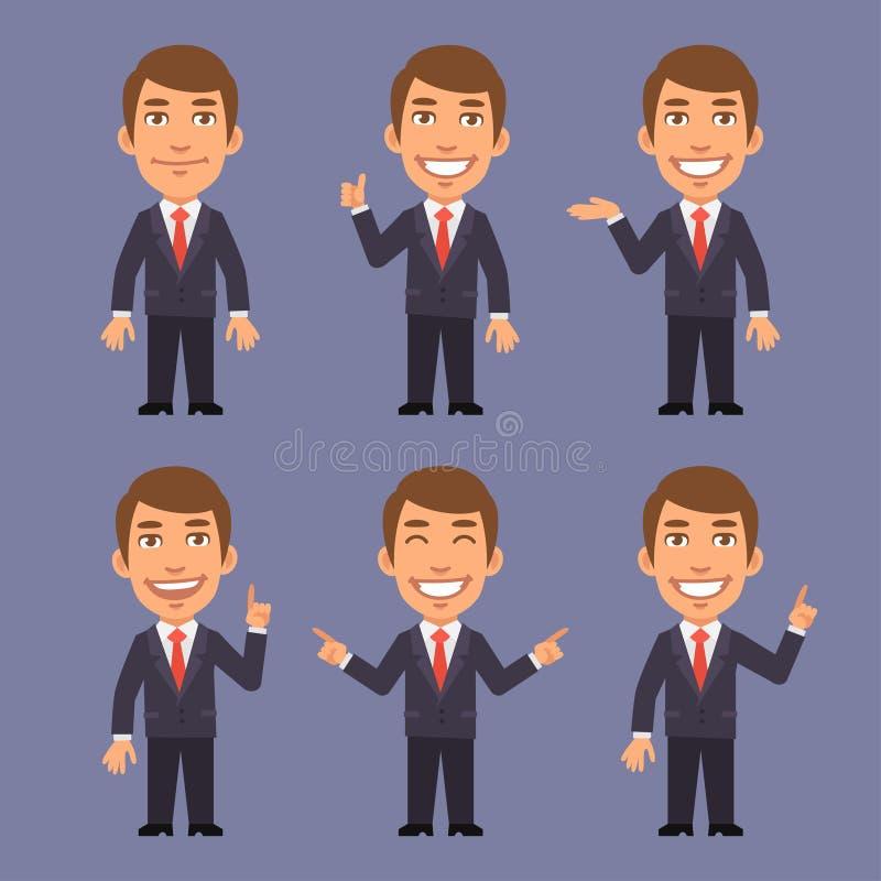 Homem de negócios em pontos do terno em versões diferentes ilustração royalty free