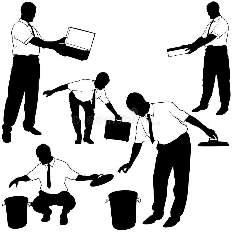 Homem de negócios em silhuetas do trabalho ilustração do vetor