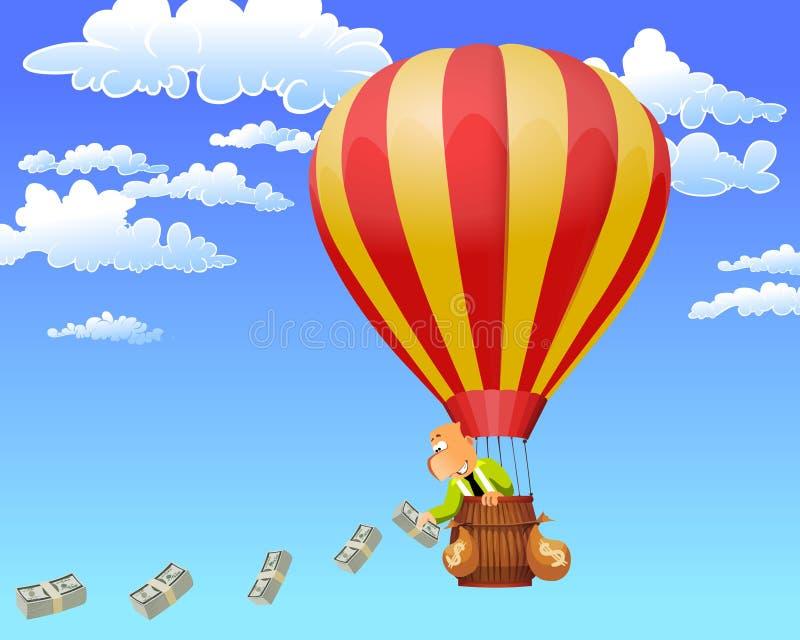 Homem de negócios em um dinheiro de jogo do balão de ar quente. ilustração do vetor