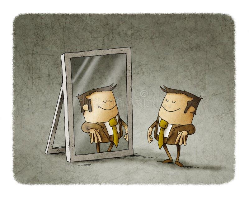 Homem de negócios em um espelho ilustração stock