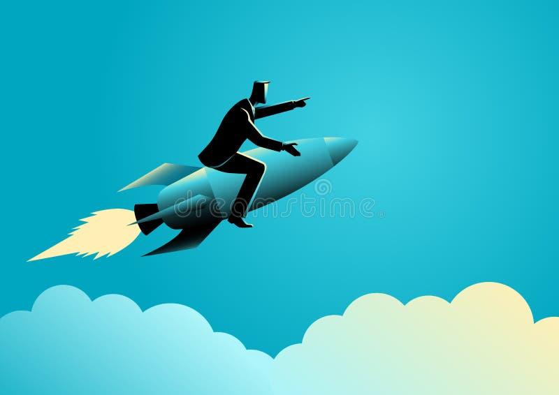 Homem de negócios em um foguete ilustração royalty free