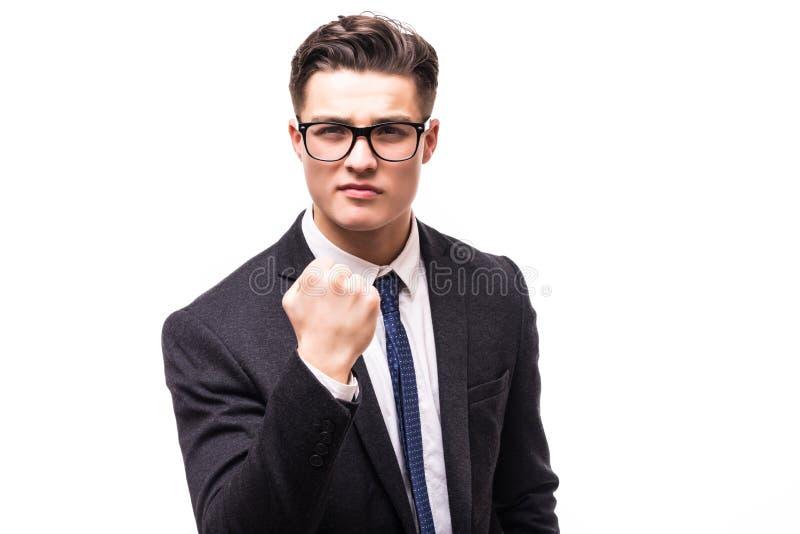 Homem de negócios em um punho da mão do terno isolado no fundo branco fotografia de stock