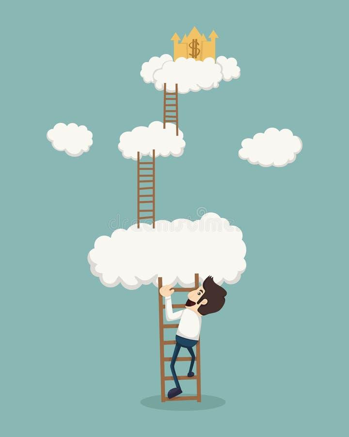 Homem de negócios em uma escada acima das nuvens que olham o castelo dourado ilustração royalty free