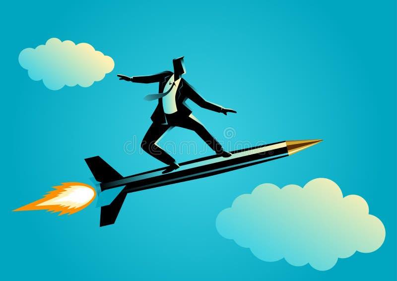 Homem de negócios em uma pena do foguete ilustração royalty free