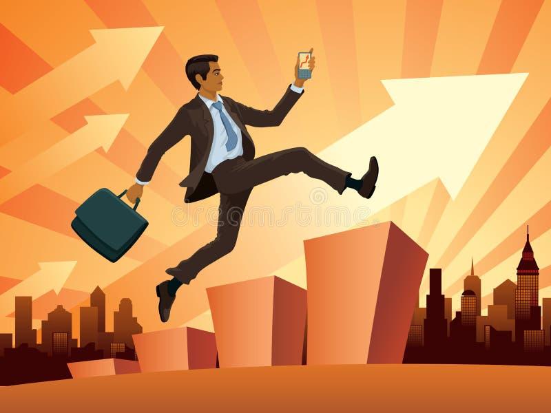 Homem de negócios em uma pressa ilustração do vetor