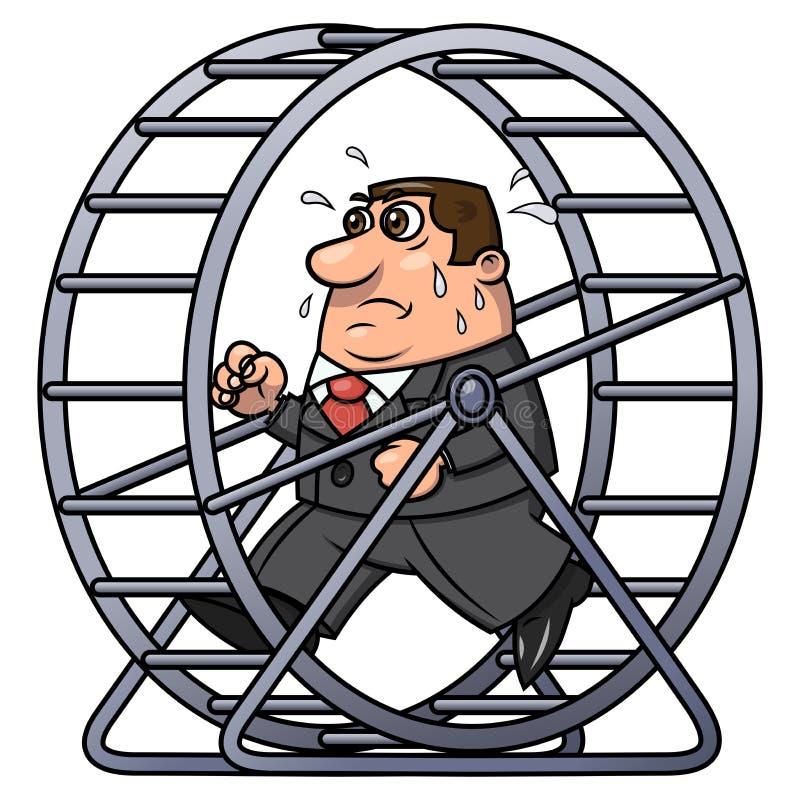 Homem de negócios em uma roda 2 do hamster ilustração stock
