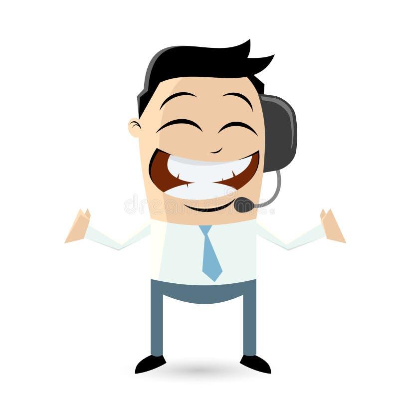 Homem de negócios engraçado com auriculares ilustração royalty free