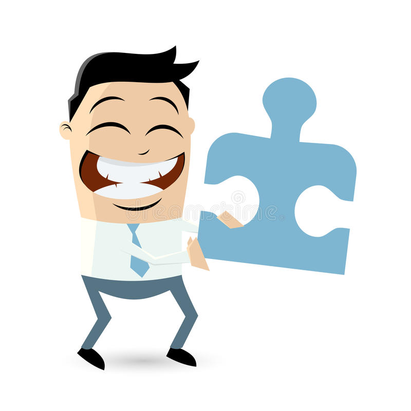 Homem de negócios engraçado com parte do enigma ilustração royalty free