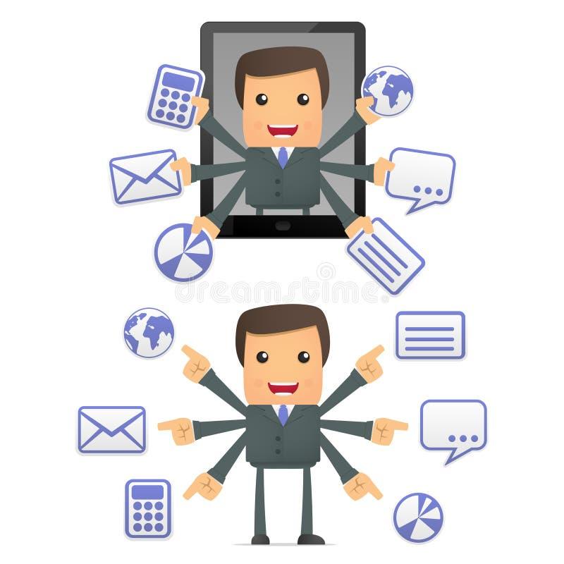 Homem de negócios engraçado dos desenhos animados com um portátil ilustração stock