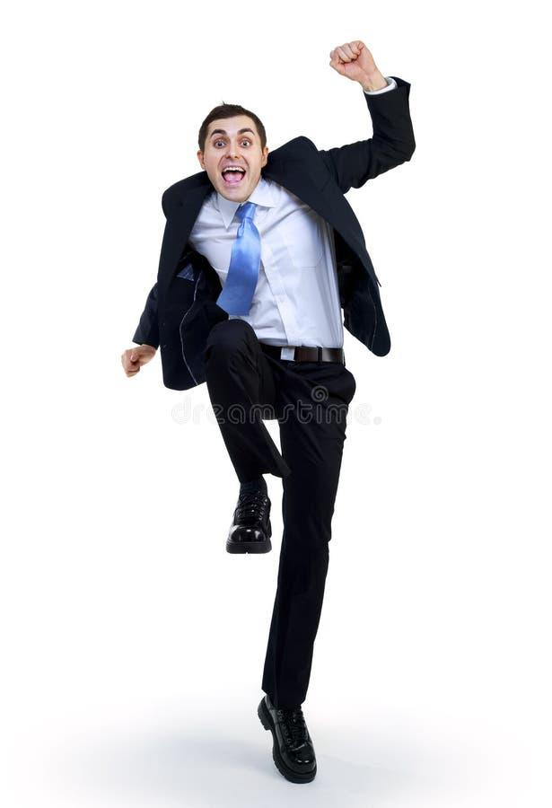 Homem de negócios engraçado feliz imagens de stock