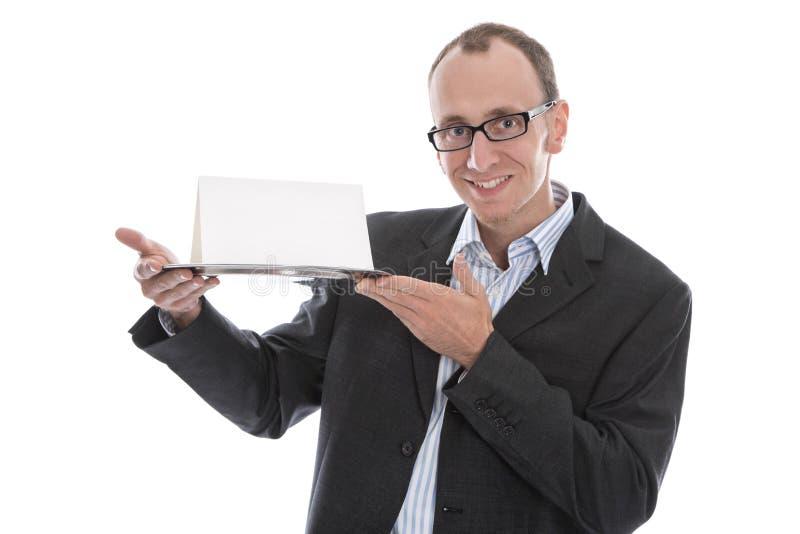 Homem de negócios engraçado isolado que adia um sinal na bandeja de prata imagem de stock royalty free