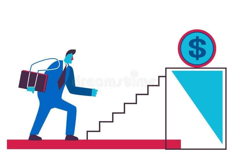 Homem de negócios de escalada do conceito da motivação do negócio da riqueza do crescimento de dinheiro da moeda do dólar do pódi ilustração do vetor