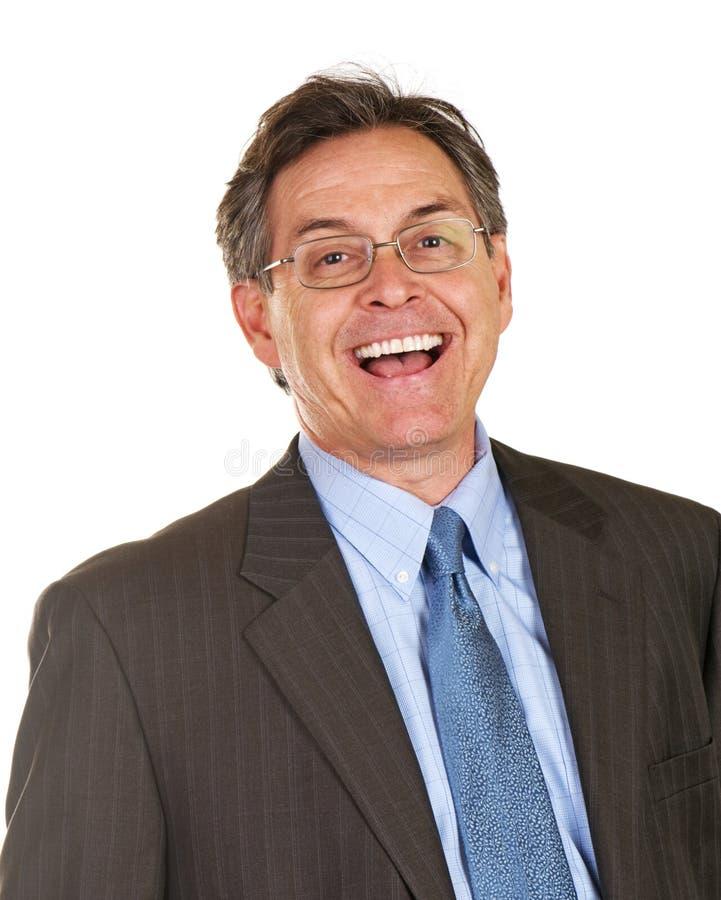 Homem de negócios Excited e feliz da Idade Média imagem de stock