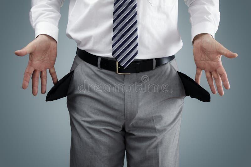 Homem de negócios falido imagem de stock