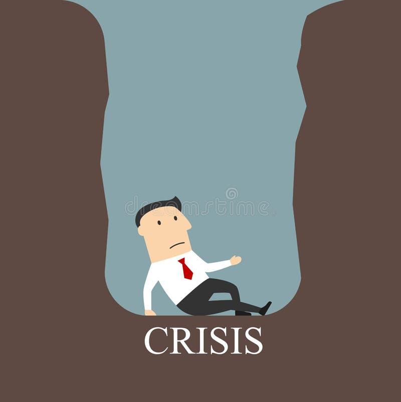 Homem de negócios falido que senta-se em um poço da crise ilustração royalty free