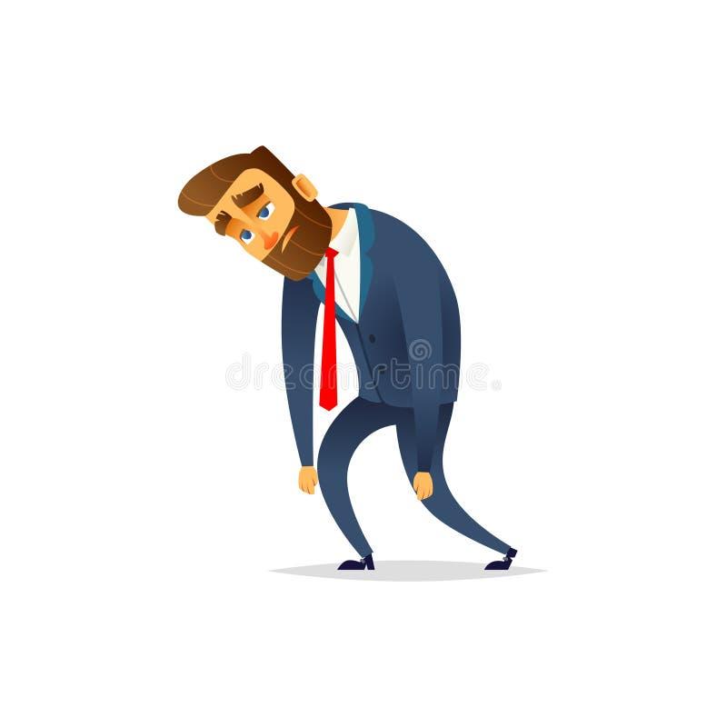 Homem de negócios farpado de encantamento cansado O gerente é deprimido e cansado do trabalho ilustração do vetor