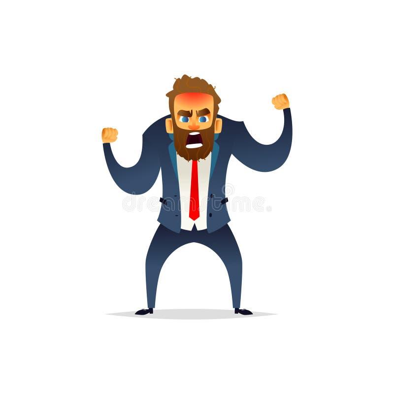 Homem de negócios farpado irritado em uma raiva O gerente está louco e irritado Projeto de caráter liso dos desenhos animados ilustração stock