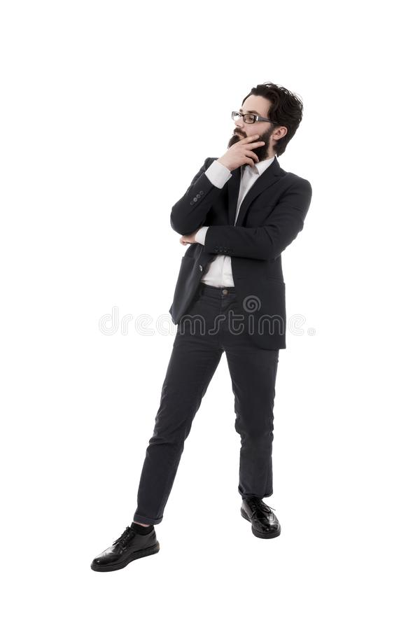 Homem de negócios farpado pensativo foto de stock