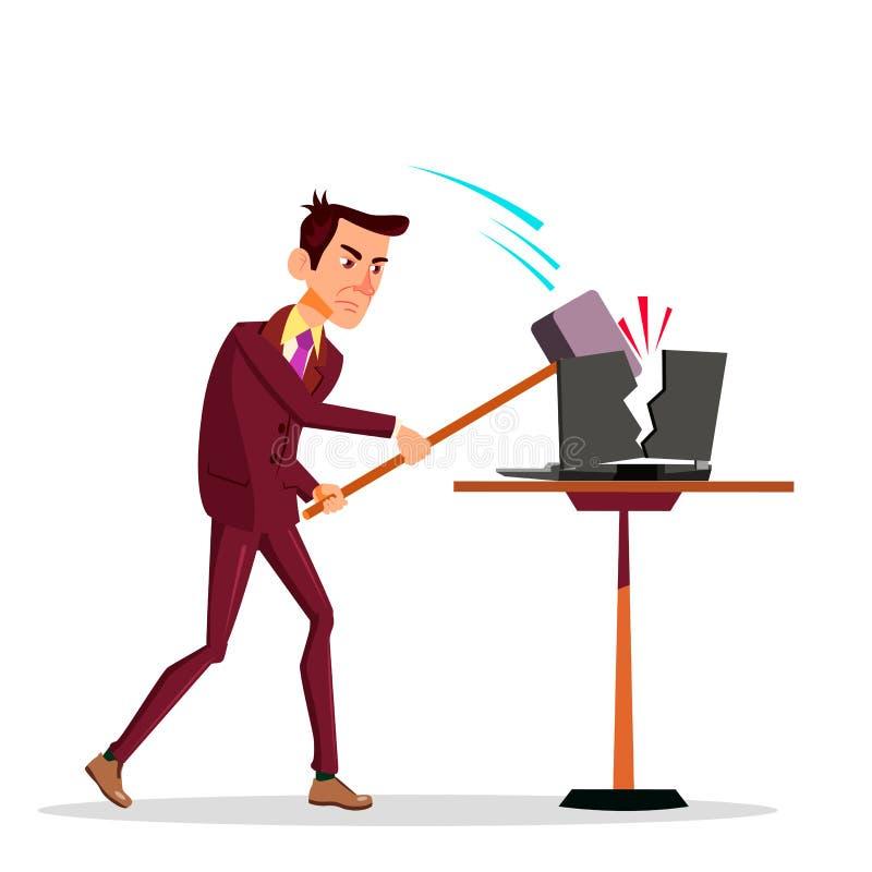 Homem de neg?cios fatigante Breaking His Laptop com ilustra??o lisa dos desenhos animados do vetor grande do martelo ilustração stock