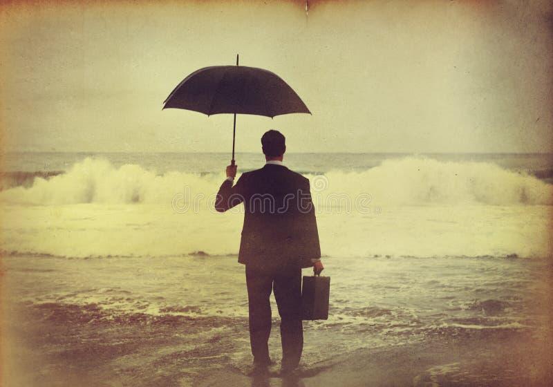 Homem de negócios Feeling no conceito azul foto de stock royalty free