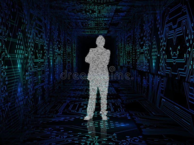 Homem de negócios feito com códigos binários no meio do varrão do circuito ilustração stock