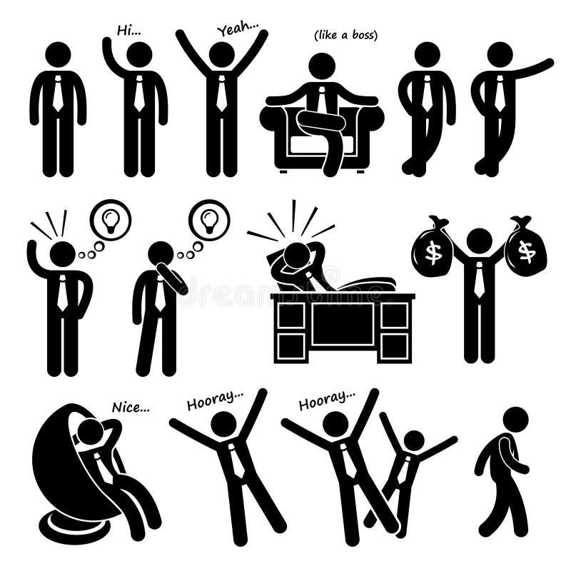 Homem de negócios feliz bem sucedido Poses Cliparts ilustração stock
