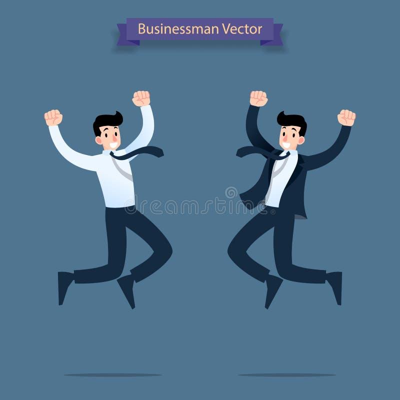 Homem de negócios feliz, bem sucedido que salta dentro ao ar que comemora a vitória de seu trabalho ilustração stock