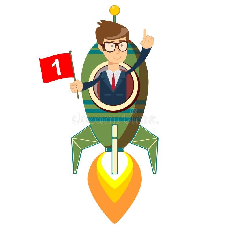 Homem de negócios feliz com a bandeira do número um em um navio do foguete que lança-se ao céu estrelado ilustração royalty free