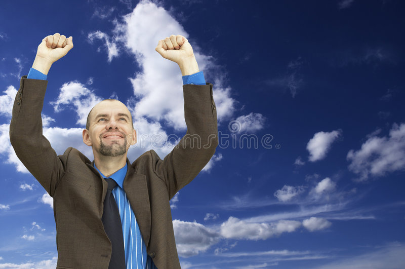 Homem de negócios feliz (com espaço para seu texto) imagem de stock
